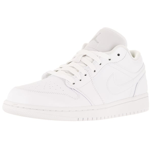 Nike Jordan Men's Air Jordan 1 Low White/White/Metallic Silver Basketball Shoe
