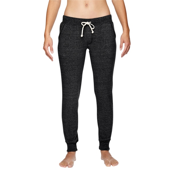 Women's Eco Black Polyester/Cotton/Rayon Fleece Jogger