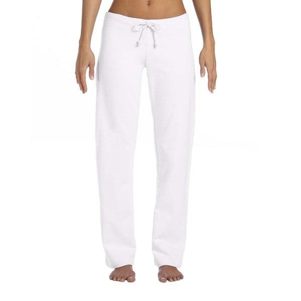 Women's White Cotton Fleece Straight-leg Sweatpants