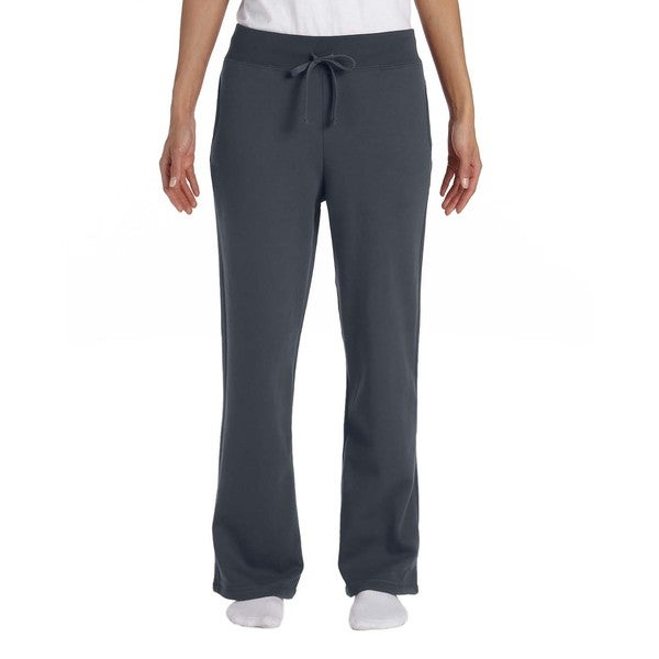 Women's Heavy Blend Charcoal Polyester/Cotton Open-Bottom Sweatpants