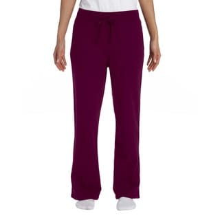 Women's Maroon Heavy Polyester and Cotton Blend Open-bottom Sweatpants