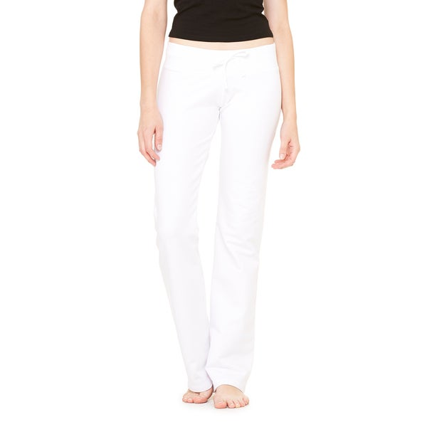 Women's Stretch White French Terry Lounge Pants