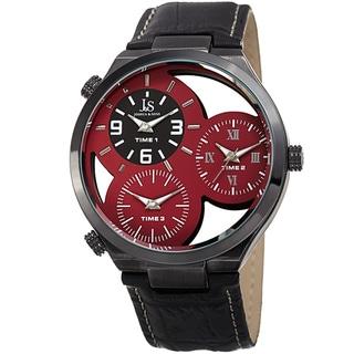 Joshua & Sons Men's Quartz Triple Time Zone Red Leather Strap Watch