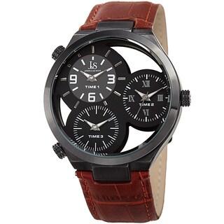 Joshua & Sons Men's Quartz Triple Time Zone Tan Leather Strap Watch