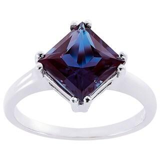 Oravo 14k White Gold 2 3/4ct TGW Created Alexandrite Princess-cut Solitaire Ring