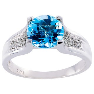 Oravo 14k White Gold 2 1/4ct TGW Swiss Blue Topaz 1/8ct TDW Diamond Accent Cathedral Ring