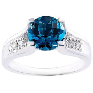 Oravo 14k White Gold 2.25 Carat London Blue Topaz 1/8ct TDW Diamond Accent Cathedral Ring