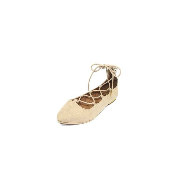 LACEUP Beige Pointy Toe Ballerina Flat