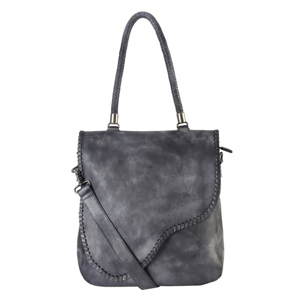 Rimen & Co. Grey/Brown Genuine Leather Large Tote Bag
