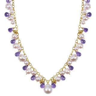 14k Yellow Gold Pink Pearls Faceted Amethyst Necklace