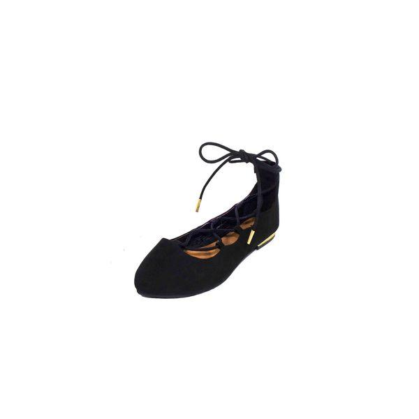 LACEUP Black Pointy Toe Ballerina Flat