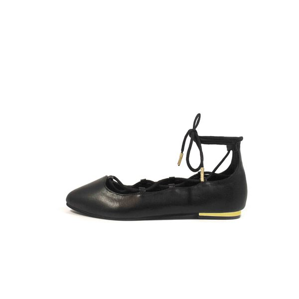 LACEUP Black Pointy Toe Ballerina Flat
