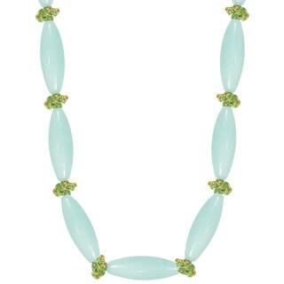 14k Gold Peridot & Amazonite Bead Necklace