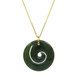 14k Yellow Gold Canadian Green Jade 16-inch Swirl Necklace