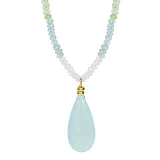 14k Yellow Gold Aquamarine Chalcedony Drop 17 Inch Necklace