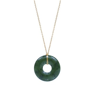 14k Yellow Gold Nephrite Jade Donut-shaped 18-inch Pendant Necklace