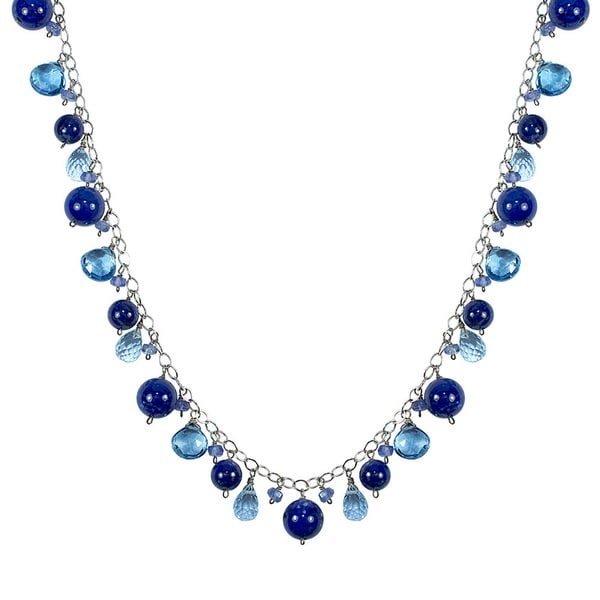 14K Blue Topaz Tanzanite Lapis 17-inch Drop Necklace