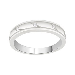Trillion Designs Sterling Silver Diamond Accent Cluster Wedding Band (H-I, I1-I2)