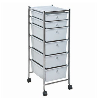 Frosty Grey 6-drawer Plastic/Chrome Metal Rolling Cart