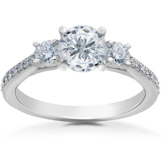 14k White Gold 1ct TDW Round Eco-Friendly Lab Grown Diamond 3-Stone Engagement Ring (F-G-SI1,SI2)