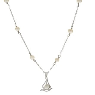 Pearls For You 18-inch Sterling Silver White Freshwater Pearl Sailboat Necklace