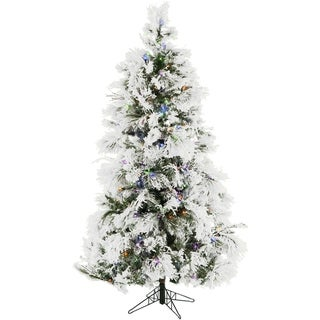 Fraser Hill Farm 9-foot Flocked Snowy Pine Christmas Tree with Multicolor LED String Lighting