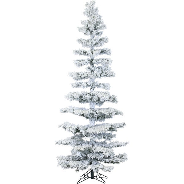 Fraser Hill Farm 7.5-foot White Plastic/Metal Pine Christmas Tree with Clear LED String Lighting