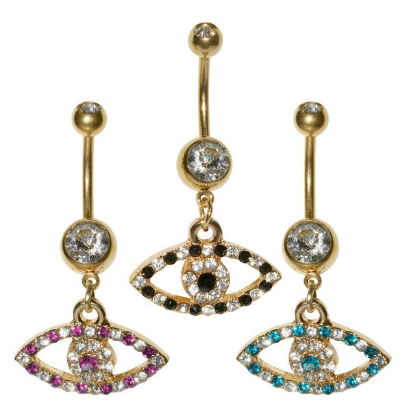 Supreme Jewelry Gold Evil Eye Belly Ring (Pack of 3)