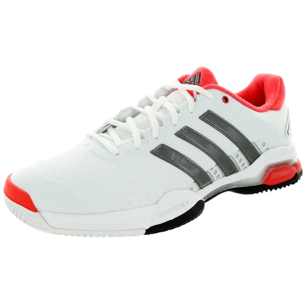 Adidas Men's Barricade Team 4 White/Iron Metallic/Brightt Red Tennis Shoe