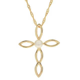 Pearls For You 14k Gold Over Silver Freshwater Pearl Cross Pendant on 18-inch Chain