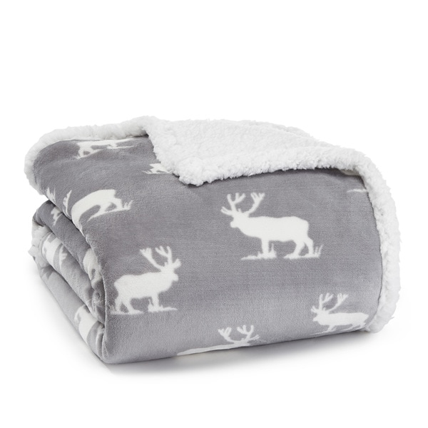 Eddie Bauer Grey and White Elk Sherpa Plush Throw