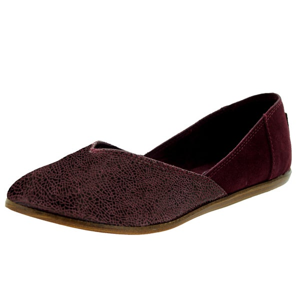 Toms Women's Jutti Flat Wine Crackled Casual Shoe