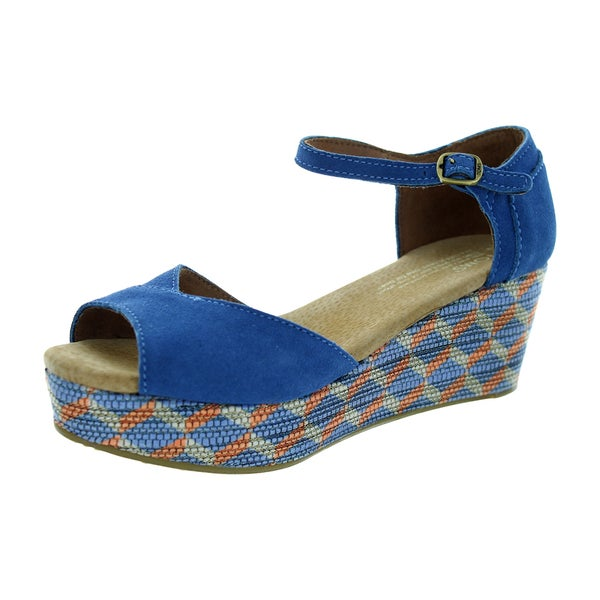Toms Women's Platform Wedge Blue Casual Shoe