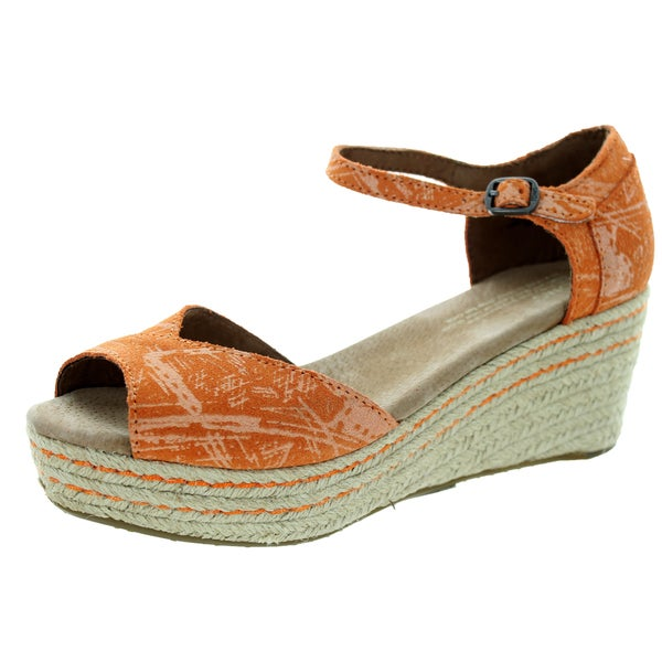 Toms Women's Platform Wedge Cantaloupe Suede Scratch Casual Shoe