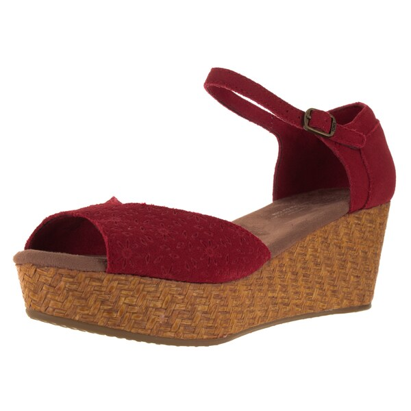Toms Women's Platform Wedge Red Casual Shoe
