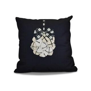 18 x 18-inch, Jingle Bells, Geometric Holiday Print Outdoor Pillow