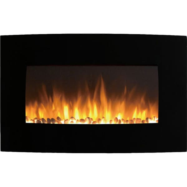 "Gibson Living Soho Home 35"" Curved Black Pebble Wall Mounted Electric Fireplace"