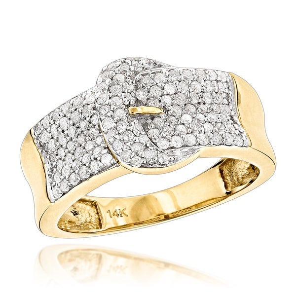 Luxurman 14k Gold Buckle Ring with 4/5ct Diamonds Womens Jewelry (H-I; SI2-I1)