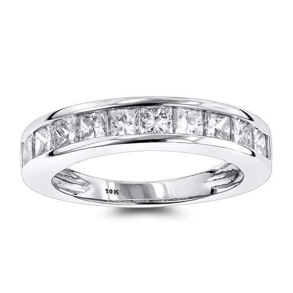Luxurman Thin 1 Row Princess Cut Diamond Wedding Band 1.65ct 10K Gold 19833272