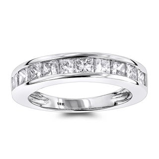 Luxurman Thin 1 Row Princess Cut Diamond Wedding Band 1.65ct 10K Gold (H-I; SI1-SI2)