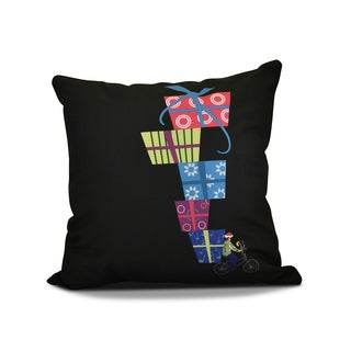 18 x 18-inch, Special Delivery, Geometric Holiday Print Outdoor Pillow