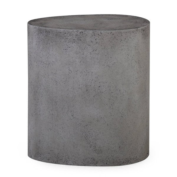 Everly Concrete Grey MDF Oval Stool