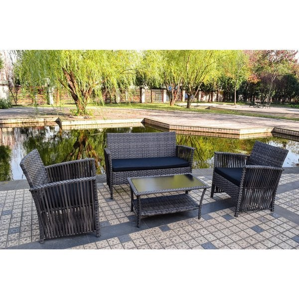 Sol Siesta Manhattan Beach Collection 4-Piece Cushioned Resin Wicker Outdoor Patio Set