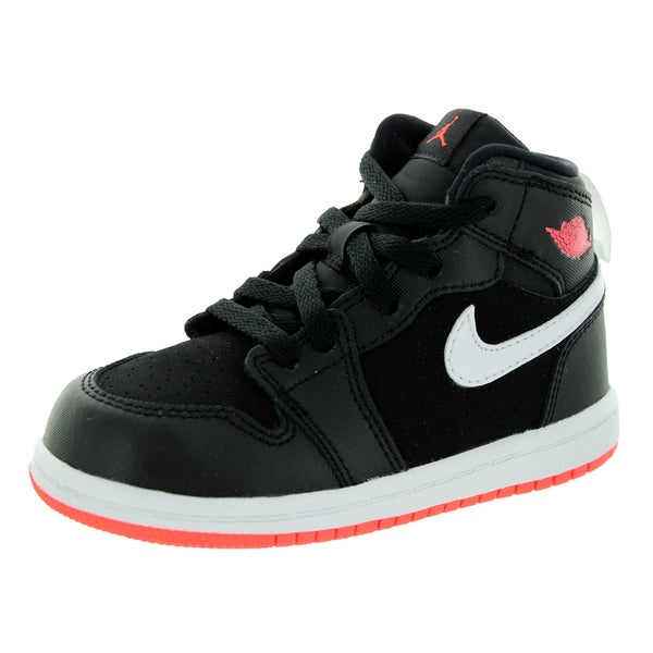 Nike Jordan Toddlers' Jordan 1 Retro Black/Hot Lava/White Leather Basketball Shoes