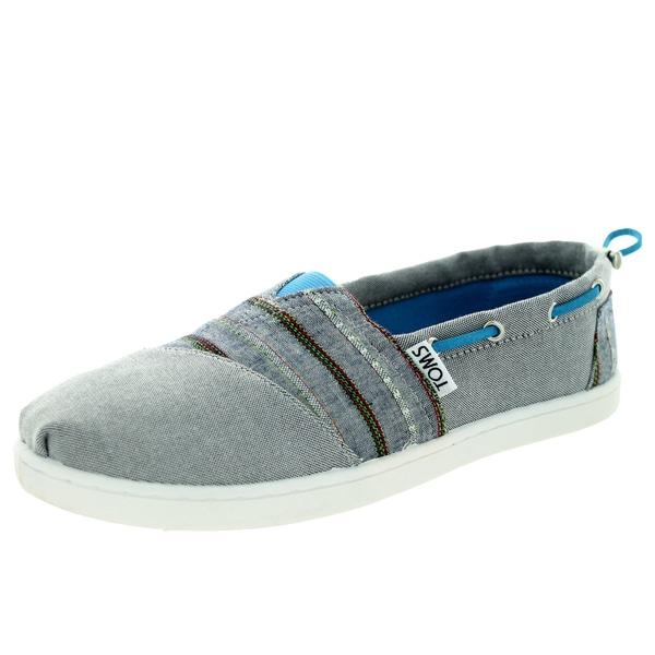 Toms Kid's Bimini Navy Chambray Stripe Casual Shoe