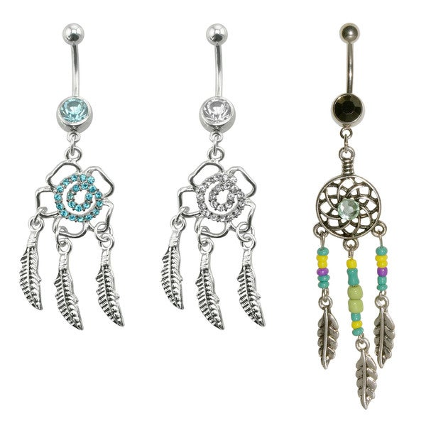 Supreme Jewelry Dream Catcher Belly Rings (Variety Pack of 3)
