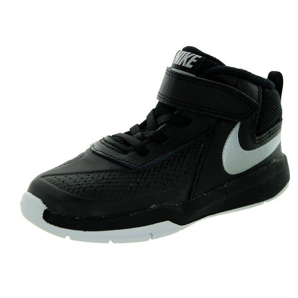 Nike Toddlers Team Hustle D 7 Black/White Leather Basketball Shoes
