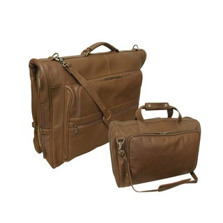 Amerileather Traveler Toffee 2-piece Leather Travel Bag Set