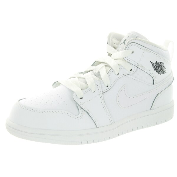 Nike Jordan Kid's Jordan 1 Mid Bp White/Cool Grey/White Basketball Shoe