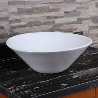ELIMAX'S 303 Unique Funnel Shape White Porcelain Ceramic Bathroom Vessel Sink